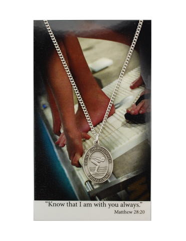 "St. Christopher Girls Swimming Necklace made from pewter and a 18"" silvertone chain with a laminated prayer card perfect gift to girls who loves sports to your sister family and friends for birthdays or any occasion"