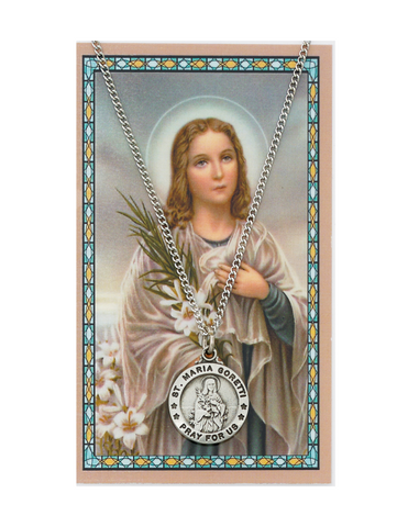 "St. Maria Goretti Medal Necklace made from Pewter with an 18"" Silver-tone chain and Prayer Card a perfect gift to your brother sister family or friends for their Birthday Christmas Holidays or any occasion"