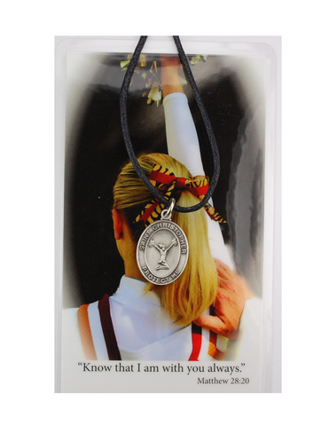 St. Christopher Girls Cheerleading Necklace Cord with Laminated Prayer Card