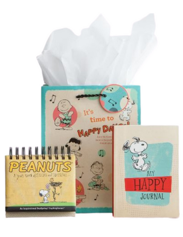 Snoopy Peanuts Gift Box Set in a Peanuts Specialty Medium Gift Bag that includes a tissue box notebook journal and calendar with inspirational phrases a perfect collection or a gift for birthday Christmas or any occasion for your brother sister and friends