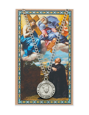 "St. Ignatius Medal Necklace made from Pewter with an 24"" Silver-tone chain and Prayer Card a perfect gift to your brother sister family or friends for their Birthday Christmas Holidays or any occasion"