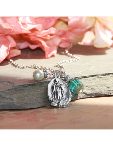 Our Lady of Guadalupe Necklace that features a Teal Crystal Drop and Glass Pearl Charm a perfect Catholic Religious gift to your sister mother family and friends for their birthday Christmas or any occasion