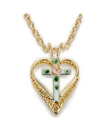 Heart Cross pendant beautiful valentines day gift gold necklace cross pendant catholic gift mother gift sister gift
