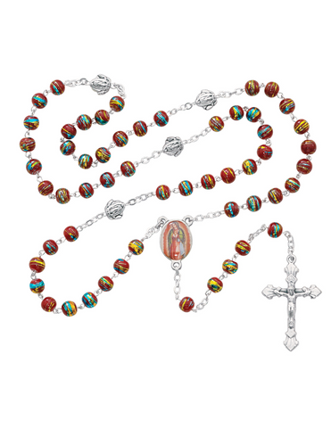 Our Lady of Guadalupe Venetian Glass Bead Rosary