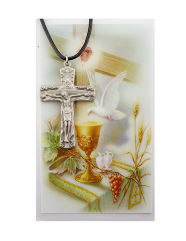 Trinity Medal Necklace Cord and Laminated Prayer Card
