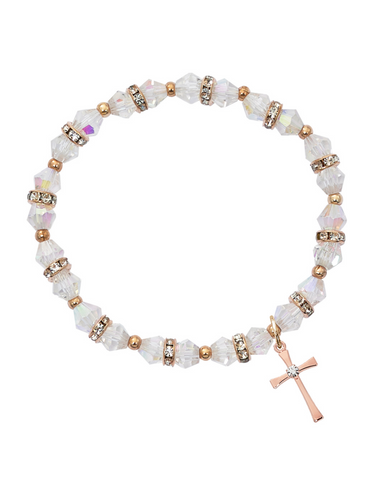 Crystal Rose Gold Cross Bracelet