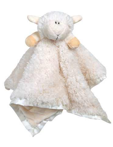 "18"" Cream Lamb Cuddly Buddy made from  Sherpa Plush, Velour, and Satin trim perfect for birthday baptism or any occasion gift for your baby toddler or younger child"