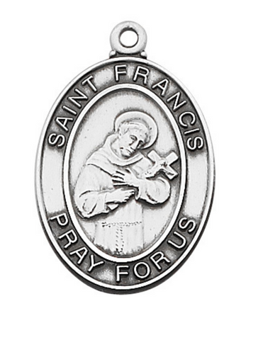 "A Silver Medal of St. Francis of Assisi Patron Saint of Animals and Ecology with 24"" Rhodium Silver Chain and engraved Pray for us phrase"