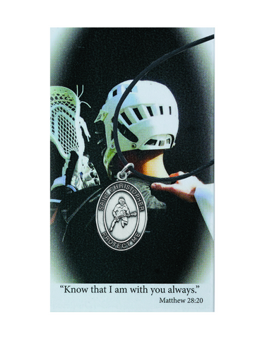 St. Christopher Boys Lacrosse Necklace made from pewter and an adjuistable cord with a laminated prayer card perfect gift to boys who loves sports to your brother family and friends for birthdays or any occasion