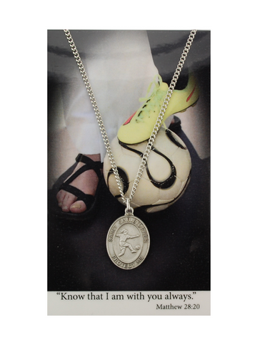 "St. Christopher Girls Soccer Necklace made from pewter and a 18"" silvertone chain with a laminated prayer card perfect gift to girls who loves sports to your sister family and friends for birthdays or any occasion"