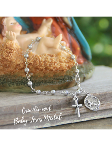 beautiful bracelet crucifix baby jesus medal glass pearl beads perfect gift father brother