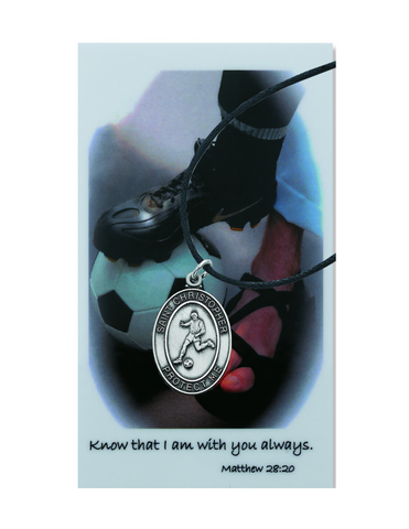 St. Christopher Boys Soccer Necklace made from pewter and a adjustable cord with a laminated prayer card perfect gift to boys who loves sports to your brother family and friends for birthdays or any occasion