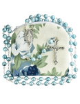 Blue Swirl Rosary with Blue Floral Rosary Pouch