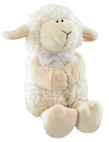 "11"" Cream Praying Lamb Musical Cuddle Buddy made from sherpa polyester plush perfect for birthday baptism or any occasion gifts or token for baby girl or boy toddler and younger kids"