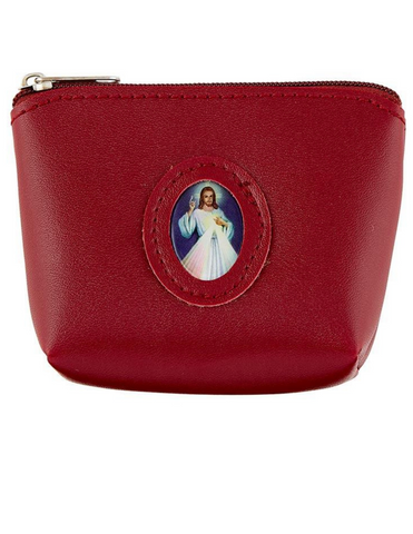 Red Medallion Rosary Case