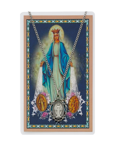 Miraculous Medal Necklace Chain with Laminated Prayer Card