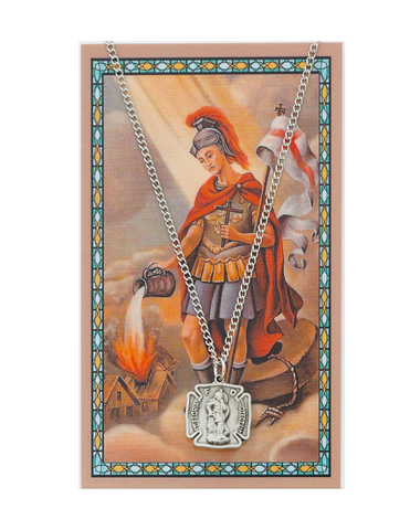 "St. Florian Medal Necklace made from pewter with n 18"" Silver tone chain and a Prayer Card a perfect gift or token to firefighter for your brother father family or friends on any occasion"