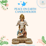"10""H Peace on Earth Nativity Advent Candleholder"
