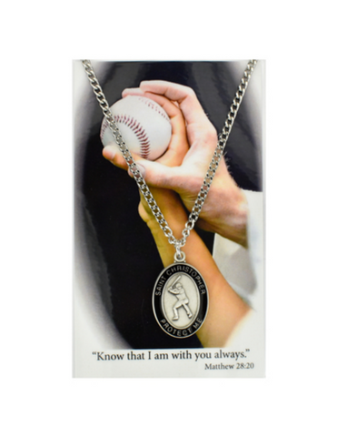 "St. Christopher - Baseball Medal with 24"" Chain and Laminated Holy Card Set"