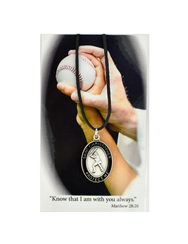 St. Christopher - Baseball Medal with adjustable chord and Laminated Holy Card Set