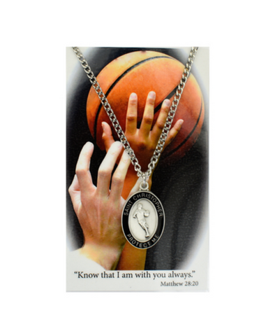 "St. Christopher - Baskteball Medal with 24"" Chain and Laminated Holy Card Set"