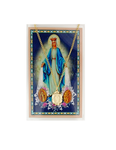 "Blessed Virgin Mary - Miraculous Medal with 18"" Chain and Laminated Holy Card Set"