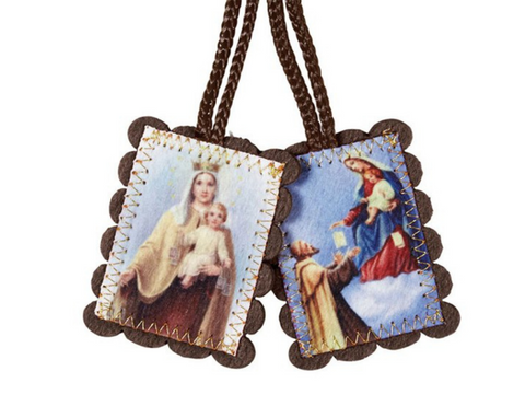 "2"" H Brown Wool Scapular - Large"