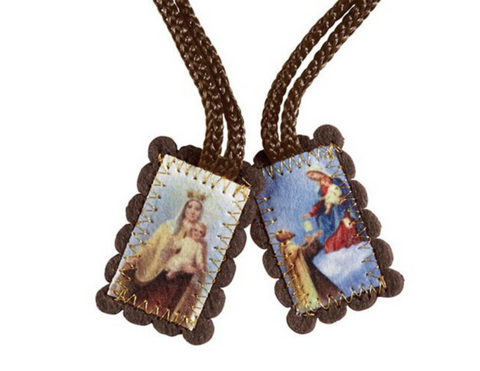 "1.5""H Brown Wool Scapular - Small"