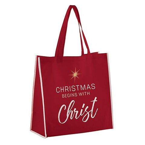 "13""H Tote Bag - Christmas Begins With Christ"