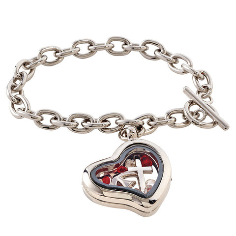 Confirmation Locket Bracelet with Dove and Cross