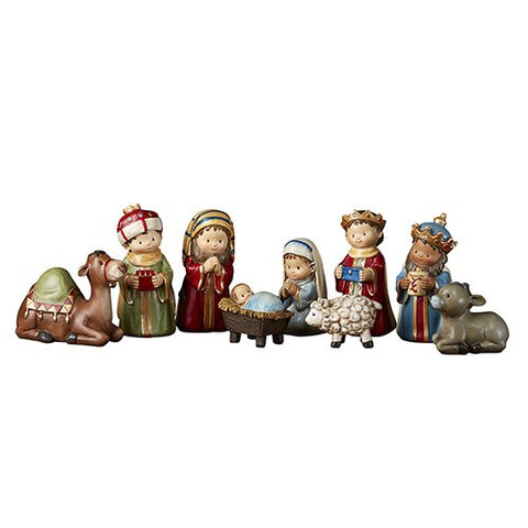 "4"" H Figurine - Children's Christmas Pageant Nativity Set - 9 Pieces Per Set"