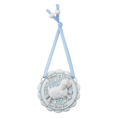 Baptized In Christ Crib Medal Blue