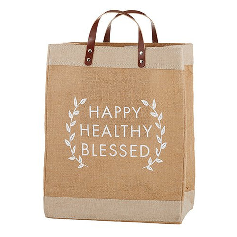 Farmer's Market Large Tote - Happy, Healthy, Blessed