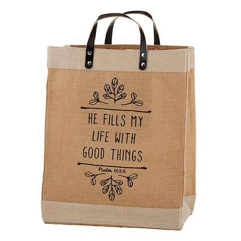 Farmer's Market Large Tote - He Fills My Life With Good Things