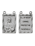 "Our Lady of Mount Carmel Scapular Medal Made of Oxidized Metal with 30"" Chain"