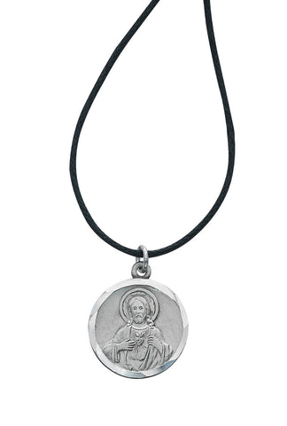 "Sterling Silver Sacred Heart of Jesus Scapular Medal with Adjustable Cord 24""-36"" Carded"