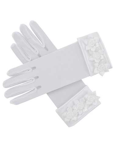 White First Communion Gloves with Rosebuds Design