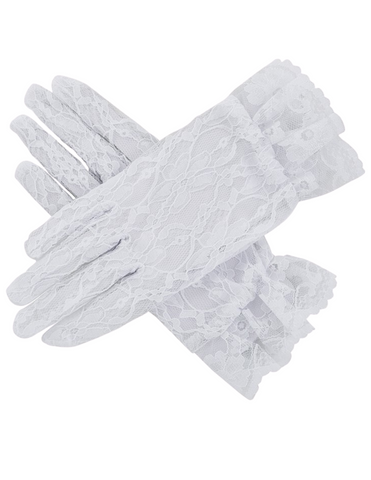 Elegant Pure White First Communion Lace Gloves