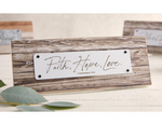 "3.25""H Faith Hope Love Rustic Tabletop Plaque"