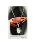 "St. Christopher - Football Medal with 24"" Chain and Laminated Holy Card Set"
