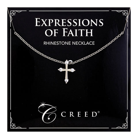 Expressions of Faith - Child Rhinestone Cross Necklace - Silver