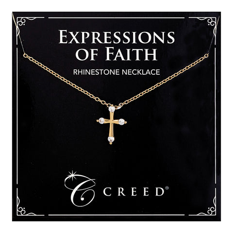 Expressions of Faith - Child Rhinestone Cross Necklace - Gold