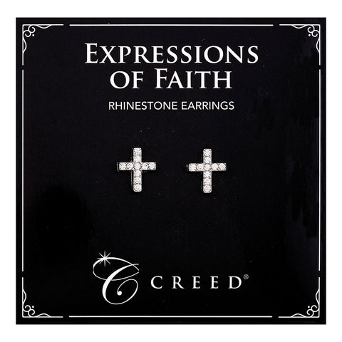 Expressions of Faith - Rhinestone Cross Earring - Silver