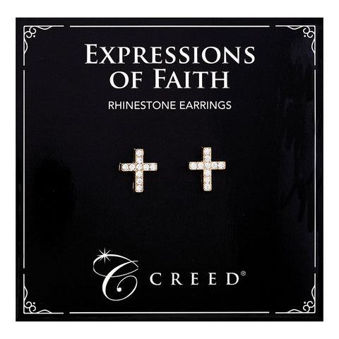 Expressions of Faith - Rhinestone Cross Earring - Gold