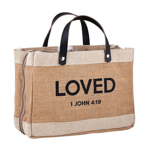 Loved 1 John 4:19 - Bible Cover Tote