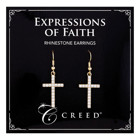 Expressions of Faith - Rhinestone Dangle Earring - Gold