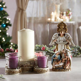 "10"" Peace on Earth Nativity Advent Candleholder"