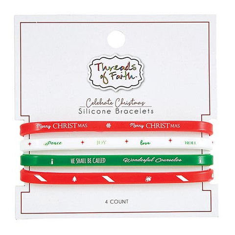 4 Pieces Silicone Bracelet - Christmas