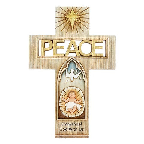 "10"" Peace Cross with Baby Jesus"