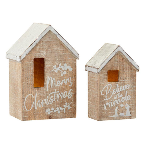 Christmas Decorative Wooden Houses with 2 LED Candles - Set Of 2